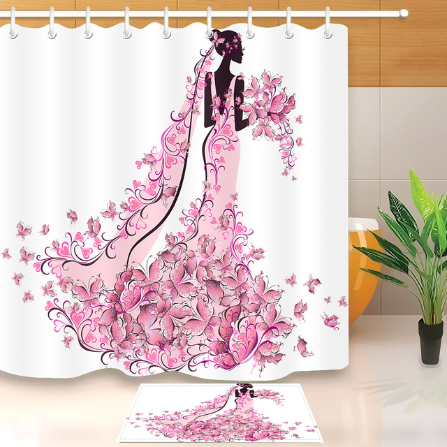 LB Pink Flower Butterfly Black Afro Girl African American White Shower Curtains With Mat Set Bathroom Curtain For Bathtub Decor