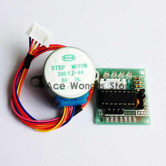 Free shipping!1pcs DC Gear Stepper Step Motor with ULN2003 Driver Board 5V 4 Phase 28YBJ-48