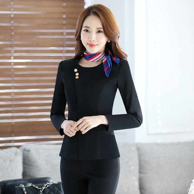Formal Uniform Design Professional Slim Fashion 2016 Autumn Winter Female Pantsuits With Jackets + Pants Ladies Trousers Sets