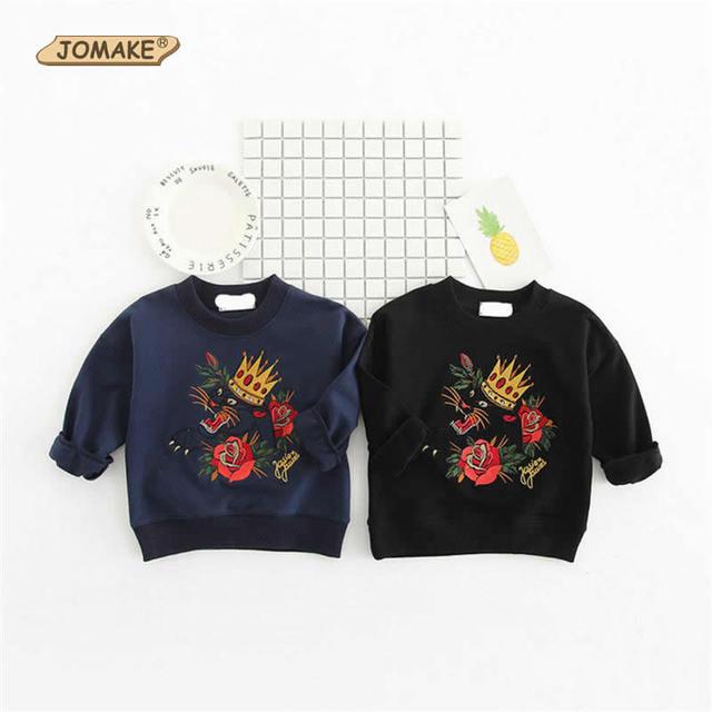 Nuevos Niños Bordado Camiseta de Los Niños de Manga Larga Camisetas Para Chicas Y Chicos Primavera Ropa Ocasional de Los Niños Florales Niños Tops