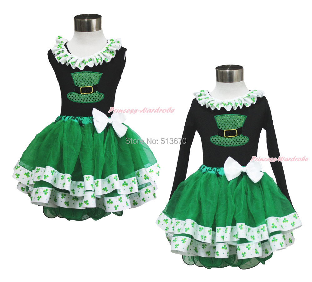 St Patrick's Day Bling Green Hat Black Top Clover Satin Trim Girl Skirt Set 1-8Y MAPSA0401 white top my 2nd st patrick day clover green bling sequins girls skirt set 1 8y