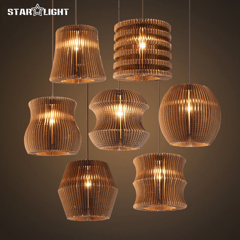 Cheap Paper Lamp Shades: Retro design Christmas pendant lights Special hanging multiple shapes paper  lamp shade bedroom decoration warm atmosphere,Lighting