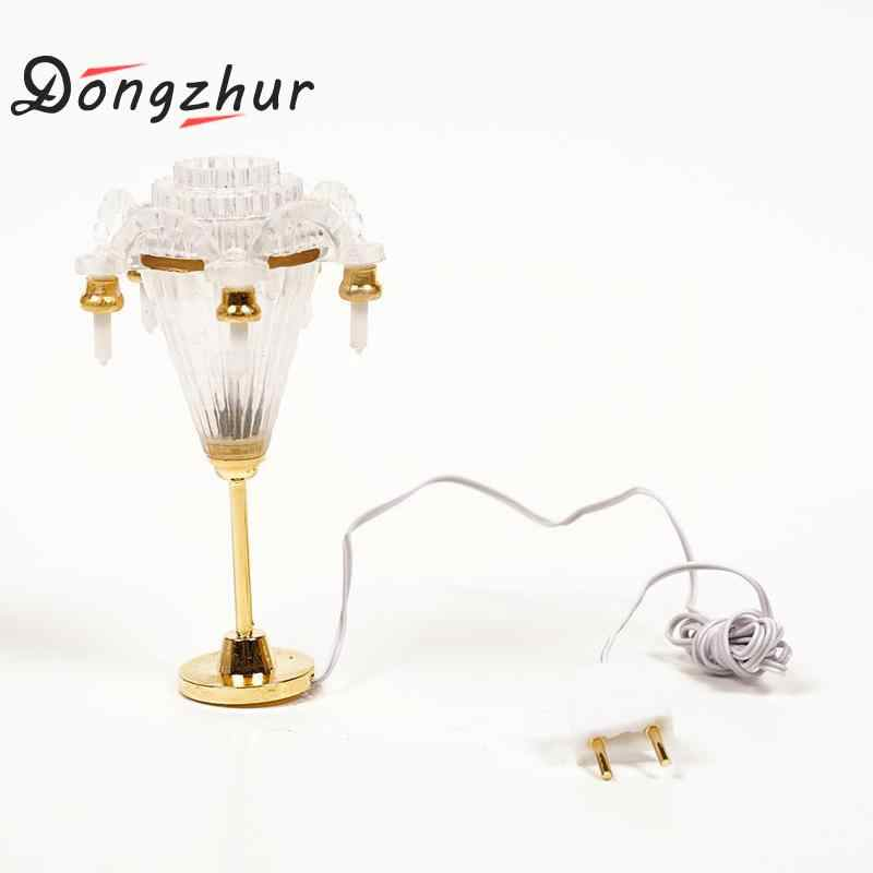 Dongzhur Miniature Accessories 12v Led Chandelier Ceiling Lighting Lamp Electric Candle 1:12 Dollhouse Furniture Decoration Gold