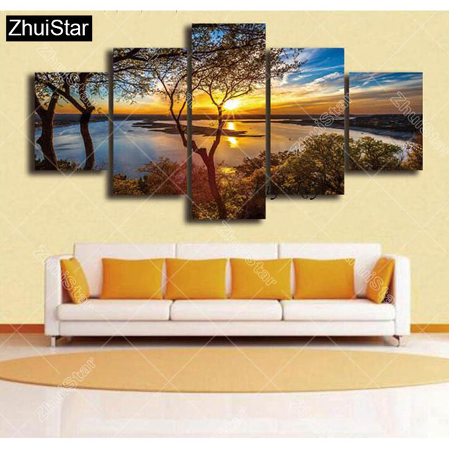 5pcs/set 5d Diamond Embroidery Sunset Lake Tree 3d Diamond Painting Cross Stitch Mosaic Pattern Rhinestone Decor triptych XSH