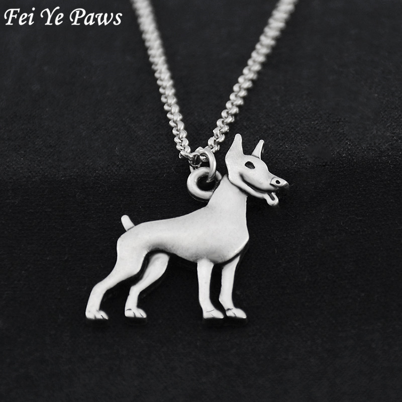 Fei Ye Paws Vintage Stainless Steel Long Chain 3D Doberman Dog Charm Pendant Maxi Necklace Chocker For Women Men Jewelry Gift