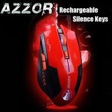AZZOR Recargable Wireless Laser Gaming Mouse Ratones 2400 DPI 2.4G Gamer FPS Silencio Construir-en la Batería de Litio de Alta rendimiento