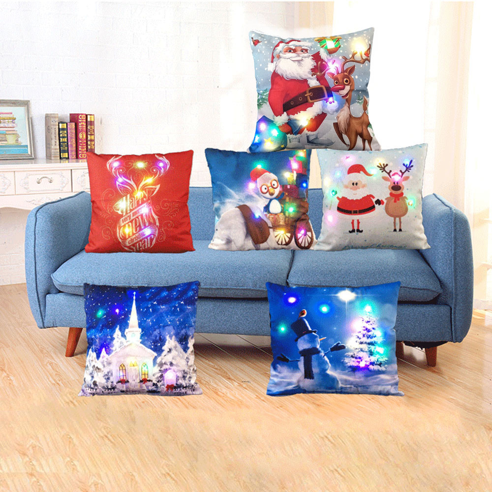 The New Color Lights Christmas Cushion cover LED Lights Pillow Creative Printing Linen Pillowcases Sofa Flashing Decorative