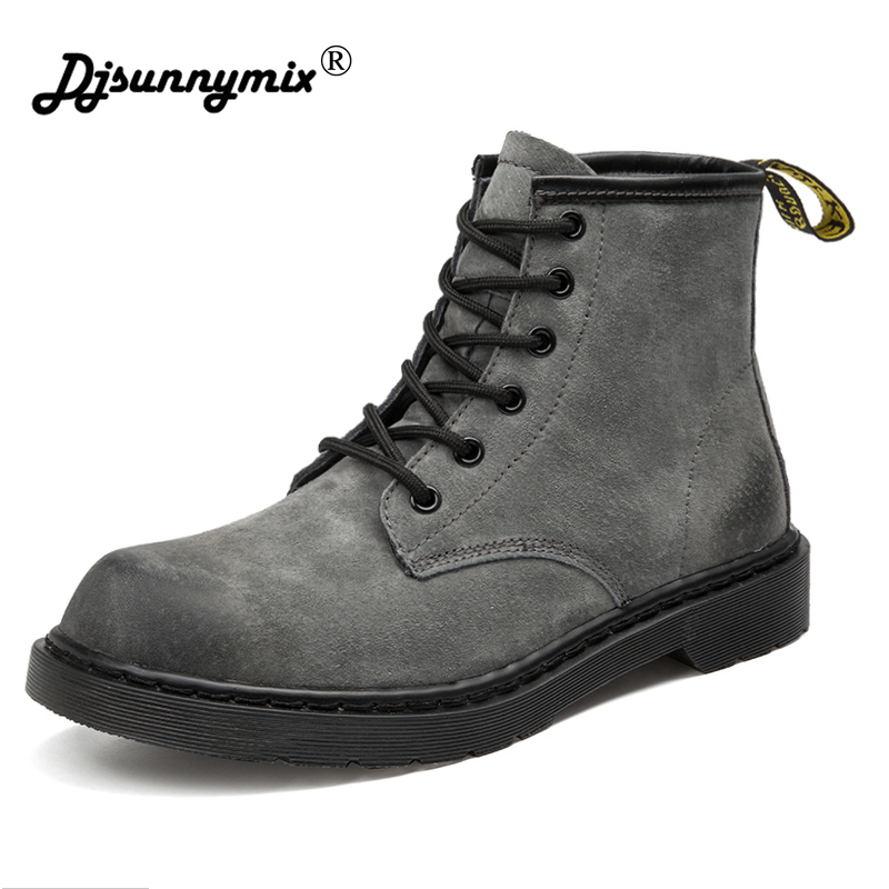 Unisex Winter Keep Warm Genuine Leather Motorcycle Martin Boots Design Retro Pig skin Muscle Shoes Men Ankle Boots Plus Size new 2017 autumn winter women genuine leather boots unisex martin boots motorcycle retro shoes high quality plus size 35 44