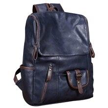 Vintage Men Backpack Leather Messenger School Bag Satchel Laptop Travel Rucksack