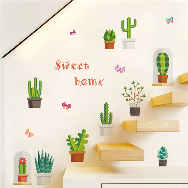 cactus flowerpot wall stickers home decoration diy prickly pear
