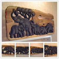 Southeast Asian style Wood carving elephant gift home decoration desktop ornaments(A819)
