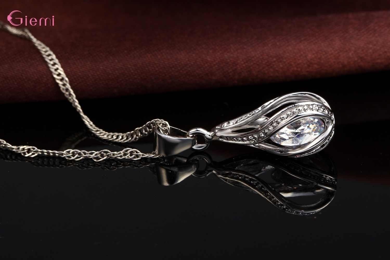 זרוק משלוח תכשיטי סטי אמיתי 925 כסף סטרלינג מעוקב Zirconia תליון שרשראות + עגילי קריסטל תכשיטי מתנות נשים