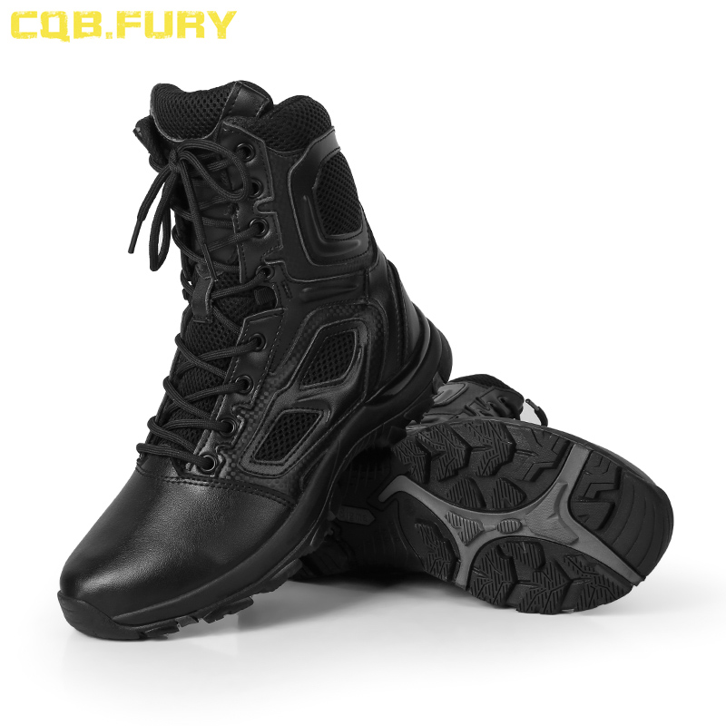 CQB FURY Summer Mens Military Leather Tactical Boots Desert cow suede combat breathable army boots with