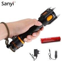Sanyi XML T6 LED policja taktyczna latarka alarm dźwiękowy Cap atak latarka głowa samoobrona przecinak do pasów bezpieczeństwa Rescue Light