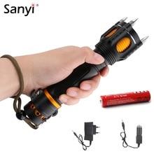 Sanyi XML T6 LED الشرطة التكتيكية مضيا مسموعة غطاء إنذار هجوم رأس مصباح الدفاع عن النفس قاطع أحزمة الإنقاذ الأمن