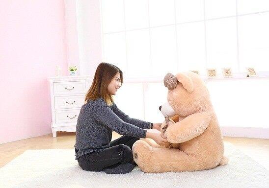 Nuovo peluche teddy bear toy bella brown cuore e fiocco orso regalo bambola circa 100 cm