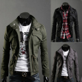 Men's Casual Long Sleeve Slim Lapel Jacket Zip Snap Button Pockets Coat Outwear