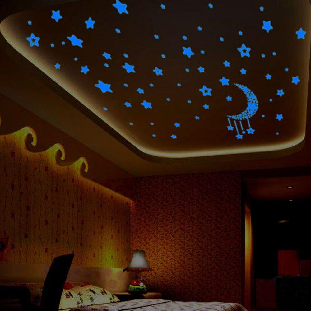 Kids Bedroom Fluorescent Glow Dark Stars Wall Stickers Plastic