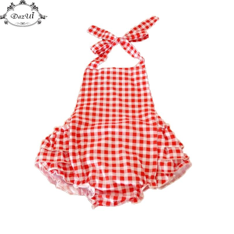 9251b4df8f7 Dazui bebé rojo blanco Plaid bebé Niñas bodysuit Halter back ruffle verano  playsuit cute niños ropa jumpsuit