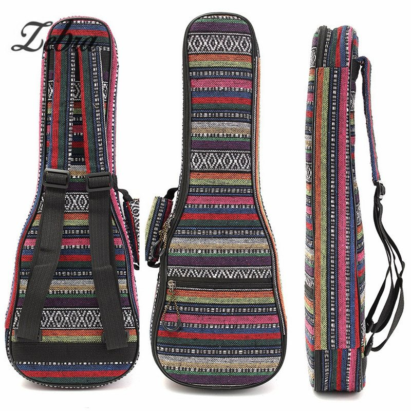 Zebra 21 23 26 Inch Padded Cotton Folk Portable Bass Guitar Gig Bag Ukulele Case Cover Guitar Backpack with Double Strap Parts 40 41inch acoustic classical guitar bag case backpack adjustable shoulder strap portable 4mm thicken padded black