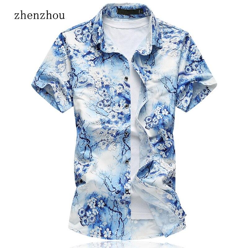 ZhenZhou 2018 새로운 M-7XL 짧은 소매 망 꽃 셔츠 남성 캐주얼 의류 브랜드 셔츠 남자 Camisas Hombre 만화 Corta Verano
