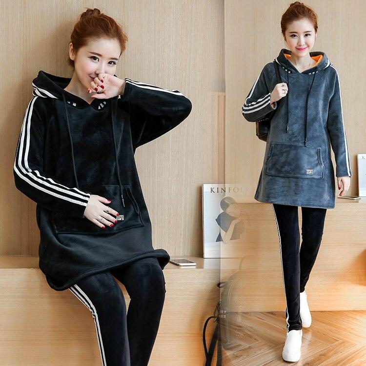 ФОТО Plus Velvet Cotton Maternity Hoodie Sweatshirt Fleece Tops Pullover Clothing Clothes For Pregnant Women Winter Outerwear B384