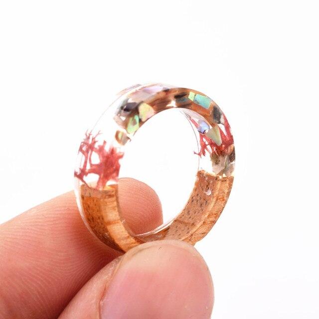 Handmade Flowers Wood Resin Ring36