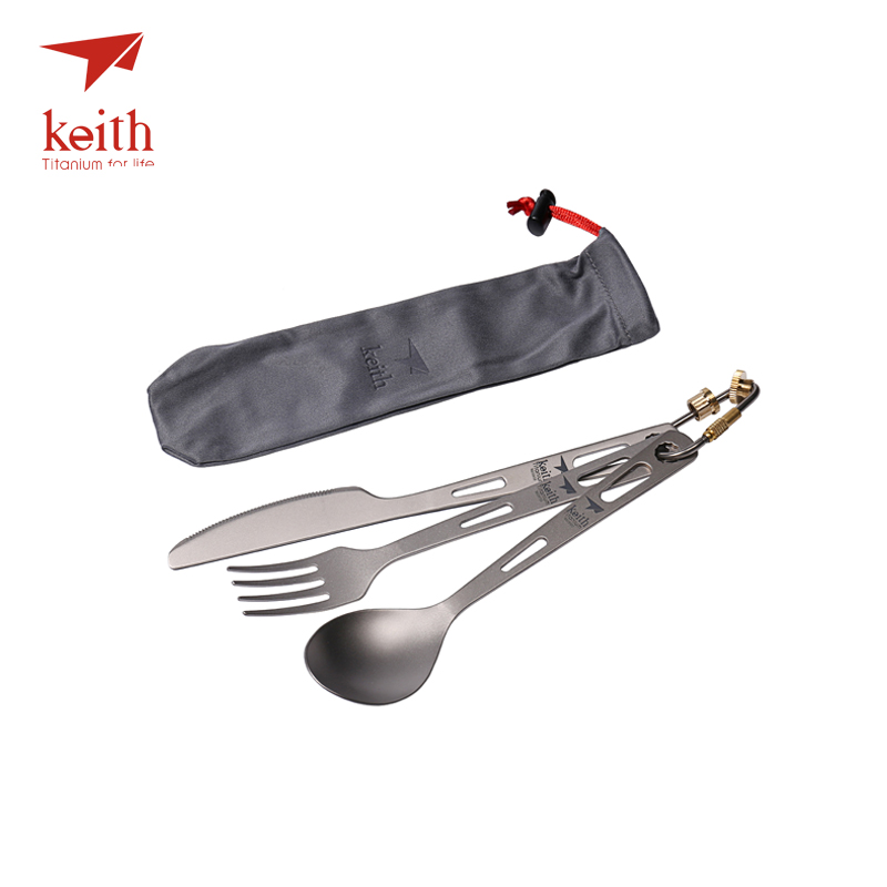 Keith 3 In 1 Titanium Spoon Fork Knife Cutlery Sets With Titanium Carabiner Camping Cutlery Outdoor Tableware Spork Ti5310 53g 4 in 1 stainless steel foldable camping cutlery