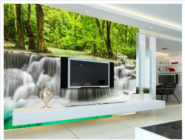NºPersonalizado 3D papel pintado 3D TV murales verde bosque cascada ...