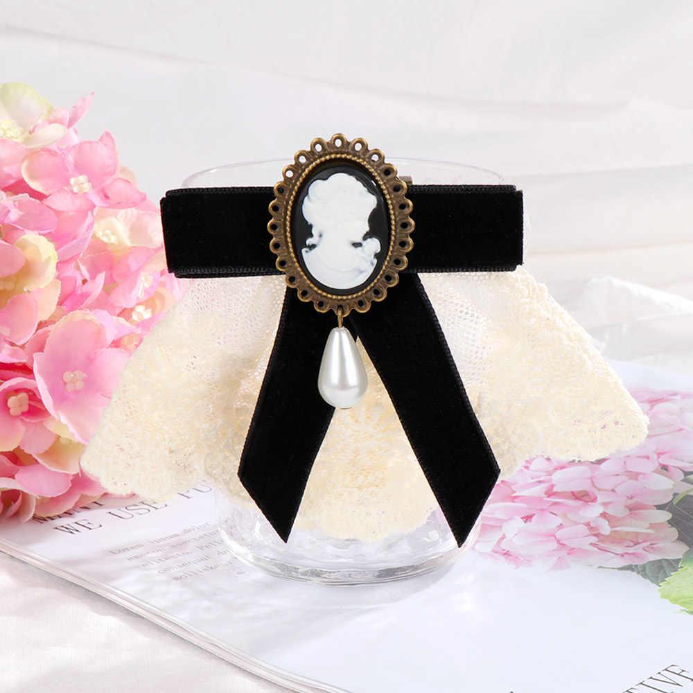 2020 ใหม่ 1pcs ผู้หญิง Elegant ลูกไม้ริบบิ้นโบว์ Queen Cameo Pearl เข็มกลัด VINTAGE สำหรับงานแต่งงานวันเกิดคริสต์มาสของขวัญเลดี้