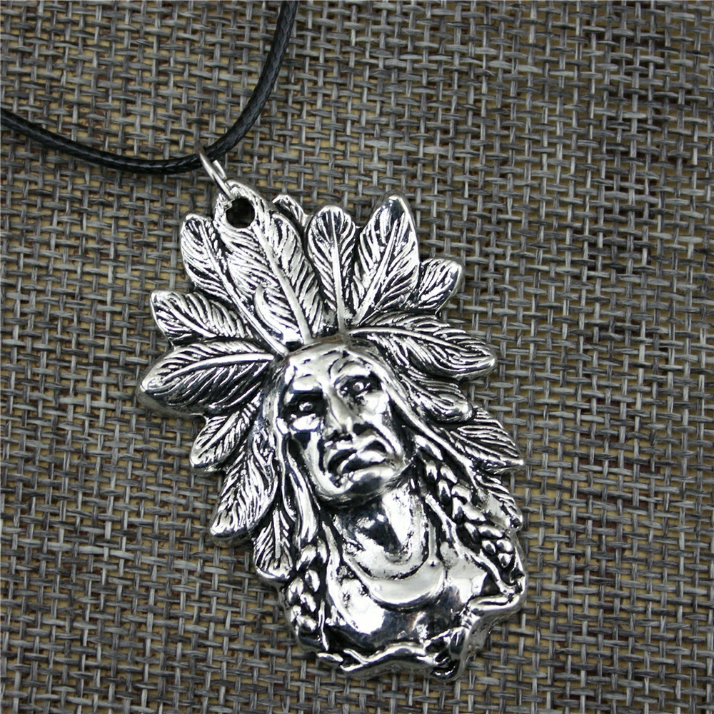 21x18mm Indian Chief Head Pendant Necklace Women Jewelry