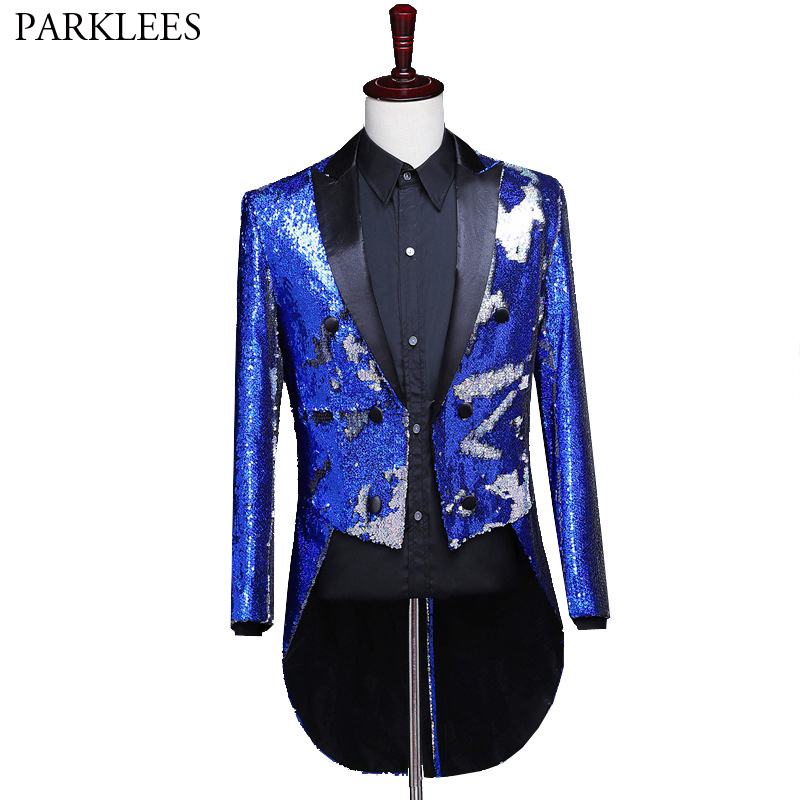 Shiny Blue Sequins Tuxedo Tailcoat Blazer Men Glitter Changing Colors Mens Wedding Groom Prom Dress Suit Jackets Singer Costumes