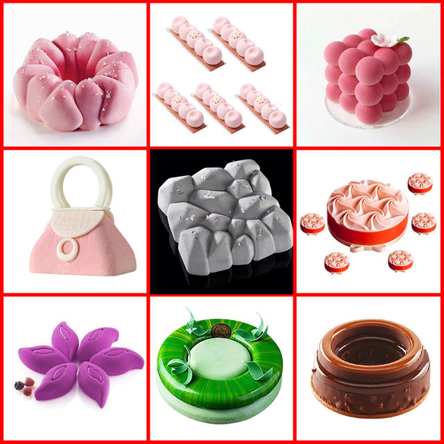 SILIKOLOVE Hot Silicone Mold Cake Mold for Baking Tools for Cakes Mousse Mould Silicone Molds for 3D Crafts Kitchen Baking