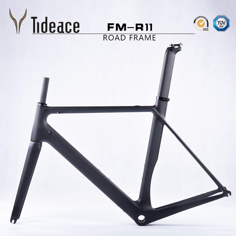 Tideace cadre de vélo en fibre de carbone cadre de vélo de route carbone super carbone léger cadre de route de course accepter bricolage