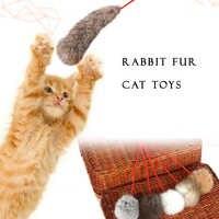 Productos para mascotas creados en 5 uds. Juguete de piel de conejo Natural para gato 2 estilos 3 colores para elegir divertido palo para gato peludo