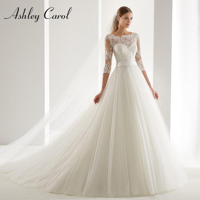 Ashley Carol A Line Wedding Dress 2020 Fashion Scoop Half Sleeve Illusion Court Train Bride Dress Romantic Simple Bridal Gowns