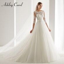 Vestido de novia ashily Carol A Line 2020 moda cuchara media manga ilusión corte tren vestido novia romántico vestidos de novia simples