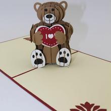 Teddy bear 3D laser cut pop up Custom greeting cards Printing handmade birthday designs wishes party supplies CD200