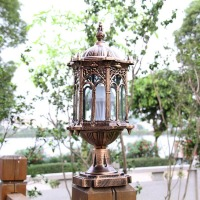 1pcs Post light antique brass exterior fixture wall lantern sconce garden porch lamp
