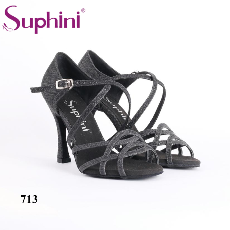 Free Shipping Handcraft Dance Shoes Latin Black Suphini Latin Salsa Dance Shoes black backless latin dance dress women latin dress dancing clothes dancewear rumba dress latina salsa dress latin dance costumes