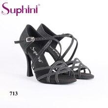 Free Shipping Handcraft Dance Shoes Latin Black Suphini Latin Salsa Dance Shoes