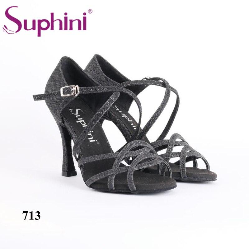Livraison gratuite artisanat chaussures de danse Latin noir Suphini Latin Salsa chaussures de danse