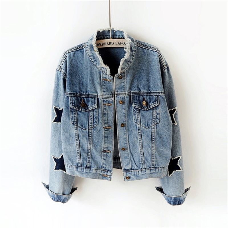 Women Vintage Basic Coats Denim jacket high quality 2018 fashion spring new beaded wash denim jacket water loose Jeans Coat