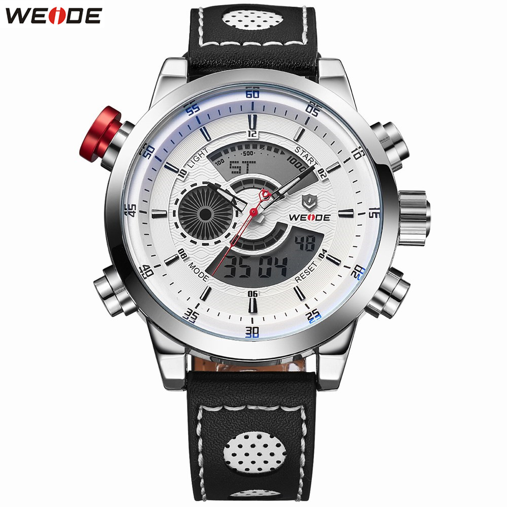 NEW Original Fashion WEIDE Waterproof Sports Watch Men Digital Quartz Watch Leather Band Man White Alarm LED Wristwatch Relogios все цены