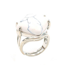 FYJS Unique White Howlite Stone Silver Plated Rhombus Shape Resizable Ring Personalized Jewelry