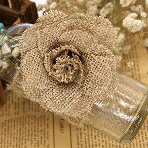 Image 4 - Xinaher 5 pçs 9cm artesanal juta hessian serapilheira flores rosa shabby chique decoração do casamento suprimentos de festa de natal