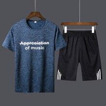 T shirt nuevos camiseta hombres de moda dos piezas conjuntos camisas + Pantalones trajes última 2019 cortos traje d