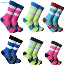 цена на 2018 Color Stripe Professional Brand Cycling Sport Socks Long Secti Compression Bicycles Socks Breathable Wicking Cycling Socks