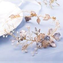 Женская повязка на голову с жемчужинами и золотыми листьями