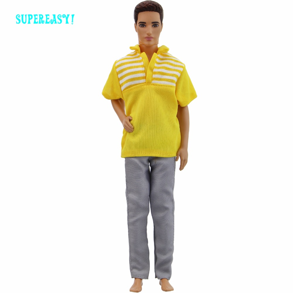 Handmade Outfit Casual Daily Wear Yellow Cool Blouse Stripe Shirt Jeans Trousers Clothes For Barbie Doll Ken Accessories Gift handmade casual wear outfit jacket coat gray vest pants khaki trousers clothes for american girl doll 18 accessories toys gift